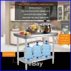 Stainless Steel Commercial Kitchen Work Food Prep Table 24 x 48 Kitchen