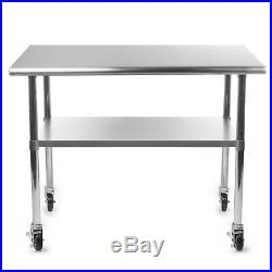Stainless Steel Commercial Kitchen Work Food Prep Table with 4 Casters 30 x 60