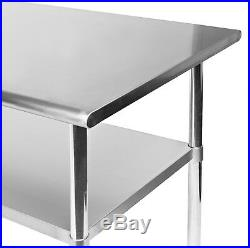 Stainless Steel Commercial Kitchen Work Food Prep Table with 4 Casters 30 x 72