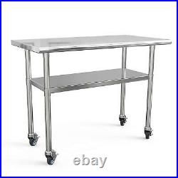 Stainless Steel Commercial Kitchen Work Food Prep Table with 4 Casters 48 x 24