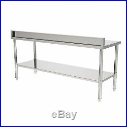 Stainless Steel Commercial Kitchen Work Prep Table with Backsplash 72 B6Q3