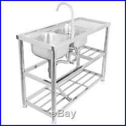 Stainless Steel Commercial Sink Double Bowl Kitchen Catering Prep Table 2 Bowls