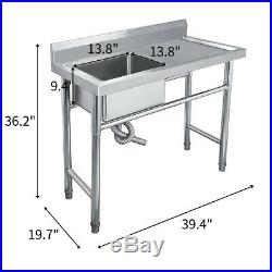 Stainless Steel Commercial Sink Single Bowl Kitchen Catering Prep Table