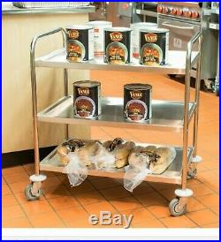 Stainless Steel Commercial Three 3 Shelf Utility Kitchen Cart 33 x 21 x 37