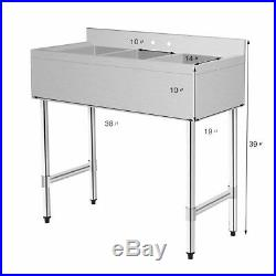 Stainless Steel Kitchen Commercial Sink with 3 Large Compartments Heavy Duty