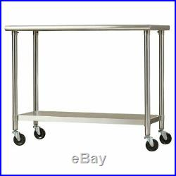 Stainless Steel Kitchen Island Prep Table 2 Tier Commercial Grade 24 x 48