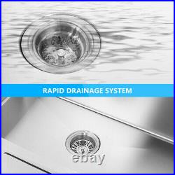 Stainless Steel Kitchen Sink Commercial Catering Washing Single Bowl Drainer Kit
