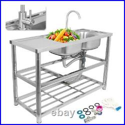 Stainless Steel Kitchen Sink Double Bowls Sink Faucet Commercial Catering