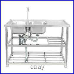 Stainless Steel Kitchen Sinks Rectangular Double Bowls & Faucet Commercial