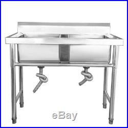 Stainless Steel Mount Standing Kitchen Sink Double Bowl Commercial Catering