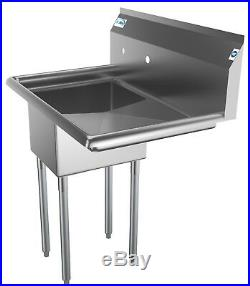 Stainless Steel NSF 31 Commercial Kitchen Utility Sink with Left 16 Drainboard