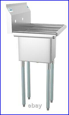 Stainless Steel NSF Commercial Kitchen Prep Utility Sink With Right Drainboard