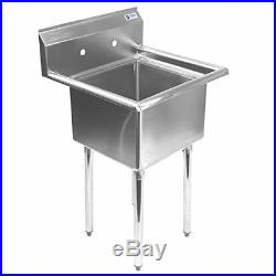 Stainless Steel One Compartment Commercial Kitchen Utility Prep Mop Sink 23 x