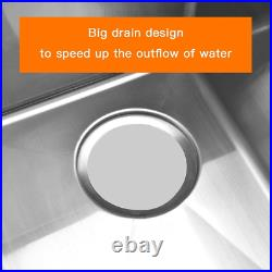 Stainless Steel Top Kitchen Commercial Sink With 3 Large Compartments Heavy Duty