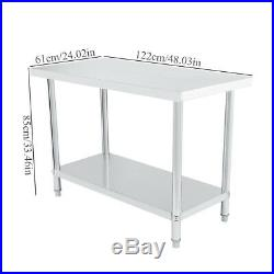 Stainless Steel Work Table Food Prep Commercial Kitchen Restaurant US STOCK
