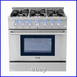 Thor Kitchen 36 Commercial Fuel Range 6 Burners Stainless Steel Freestanding US