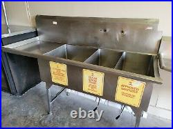Three 3 Compartment Stainless Steel Commercial Kitchen Restaurant Sink