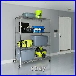 Ultradurable Commercial-grade 4-tier Nsf Steel Wire Shelving With Wheels