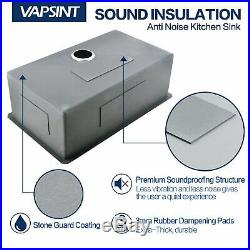 VAPSINT Commercial 18G 30 Undermount Single Bowl Stainless Steel Kitchen Sink