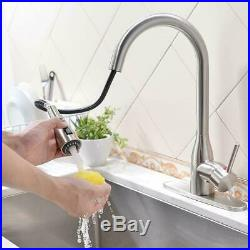 VESLA HOME Commercial Stainless Steel Pull Out Sprayer Kitchen Faucet with Cover
