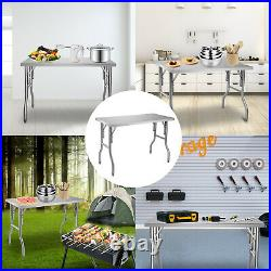 VEVOR Stainless Steel Folding Commercial Kitchen Prep & Work Table 48 x 24 Inch