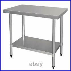 Vogue Stainless Steel Prep Table 900mm Kitchen Restaurant Catering Commercial