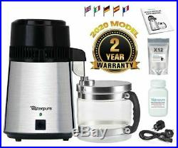 Water Distiller, Stainless Steel, Glass Jug, Latest 2020 Model Make Water Pure