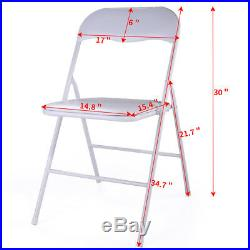 White Set of 10PCS Commercial Plastic Folding Chairs Wedding Party Event Chair
