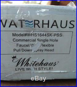 Whitehaus Commercial Style Solid Stainless Steel Kitchen Faucet Pull-Down