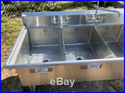 Win-Holt Stainless Steel 98.5 Commercial 3 Compartment Wash Kitchen Sink